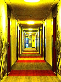Hallway, Lightened, Hotel, Comic, Building