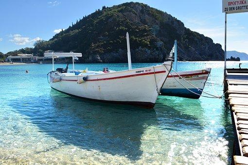 Greece, Paleokastritsa, Corfu, Beach, Boat, Clean Water