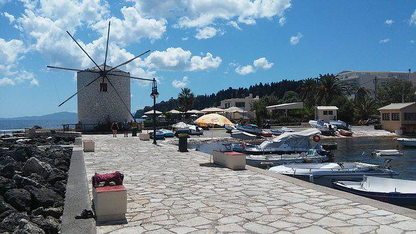 Greek Mill, Corfu, At The Seaside