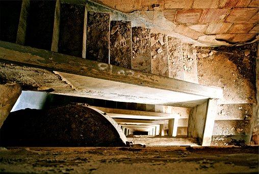 Abondoned, Stairwell, Stairway, Dirt, Rocks, Debris