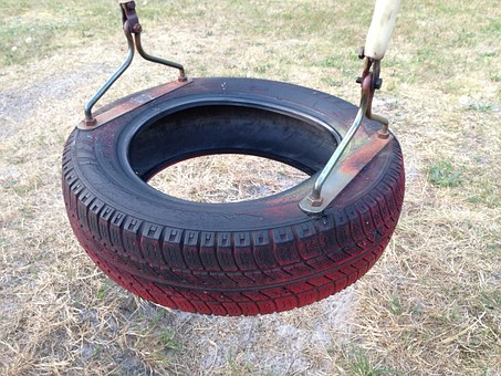 Swing, Playground, Tyre, Play, Childhood, Old, Fun