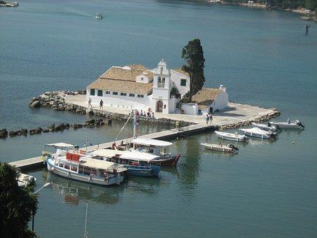 Vlaherna Monastery, Corfu, Landscape, Greece, Church