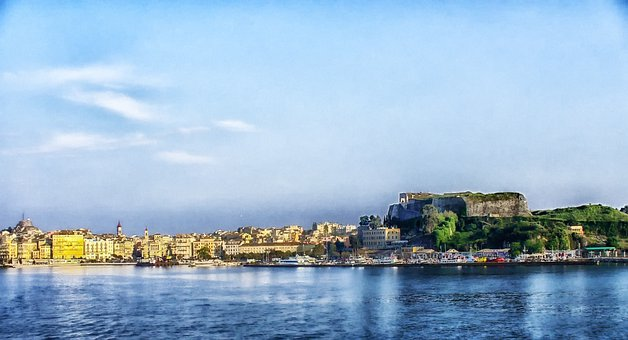 Corfu, Greece, Bay, Harbor, Water, City, Urban
