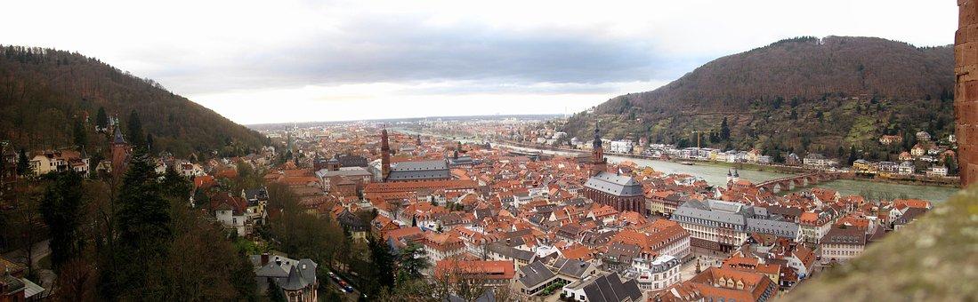 Old Town, Heidelberg, Panorama, River, Castle, Neckar