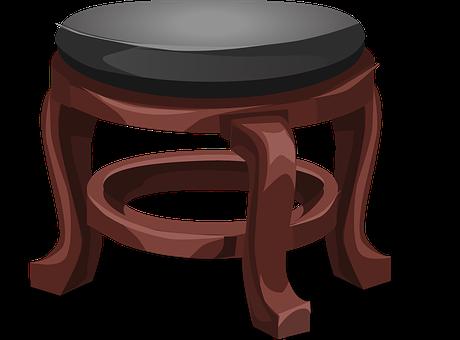 Stool, Foot Stool, Leather, Black, Wood, Brown, Seat