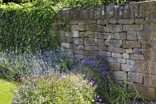 Limestone Garden Wall, Ivy, Drystone Walling, Cotswold