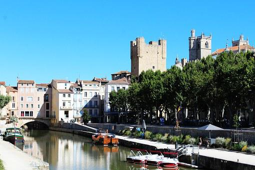 Narbonne, France, Channel, Boat, Water, River