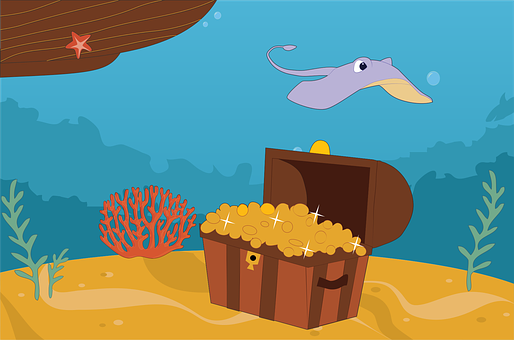 Chest, Coral, Gold, Ocean, Pirate, Reef, Sea, Stingray