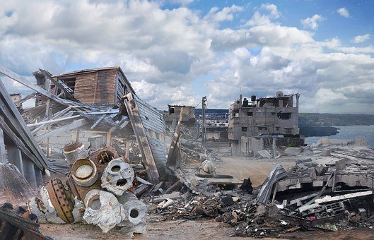 Fantasy, Landscape, Fantasy Landscape, Ruins, Debris