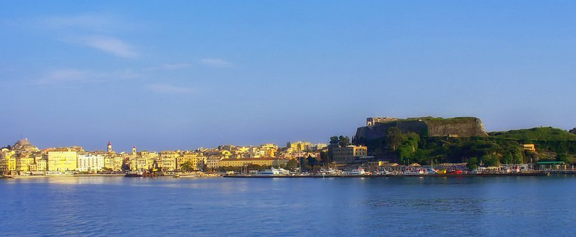 Corfu, Greece, Panorama, Sky, Clouds, Shore, Shoreline