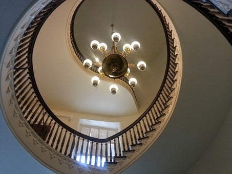 Stairs, Chandelier, Lights, Staircase, Decorated