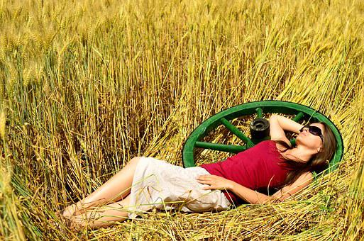 Sunlight, Young Girl, Lady, Pretty, Summer, Wheat, Rest