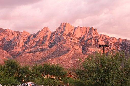 Usa, Abendstimmung, Santa çatalina, Mountains, Pink