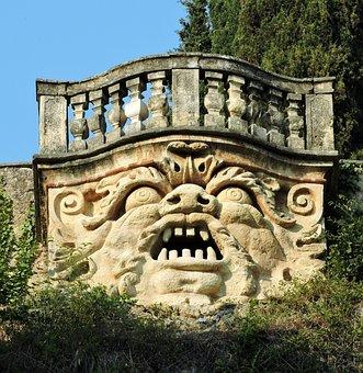 Face, Stone, Balcony, Terrace, Monster, Verona