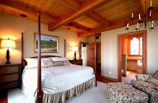 Bedroom, Bed, Four-poster, Interior, Room, Home, Design