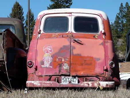 Classic Car, Van, Transporter, Old, Red, Rusty, Car