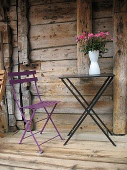 Terrace, Table, Chair, Vase, Design, Vacation