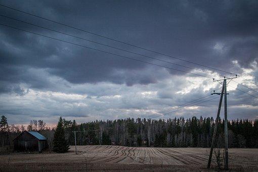 Field, Barn, Dark, Landscape, Nature, Dramatic, Natural