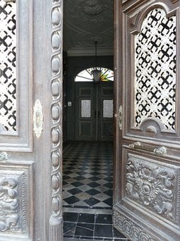 Doors, Entrance, Opening, Partially, Opened, Buildings