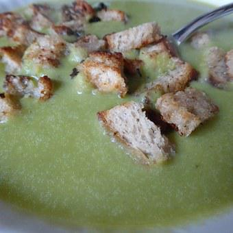 Soup, Stew, Pea Soup, Starter, Food, Croutons, Bread