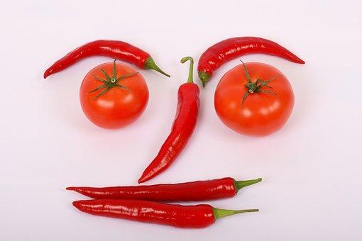 Vegetables, Red, Sweet, Pepper, Hot, Tomato, Fresh