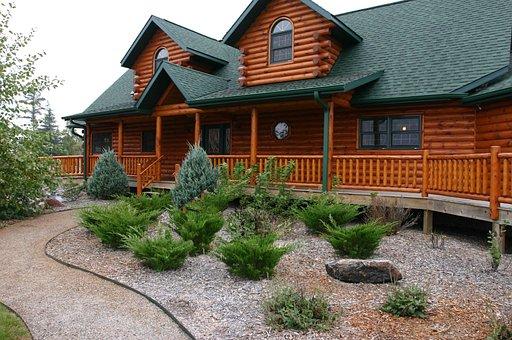 Log Home, House, Cabin, Log Cabin, Landscaping, Home