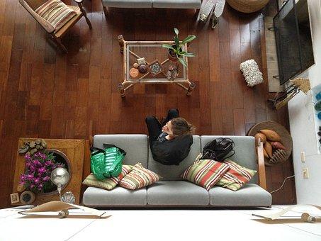 Girl, Room, Woman, Living Room, Sofa, Furniture, House