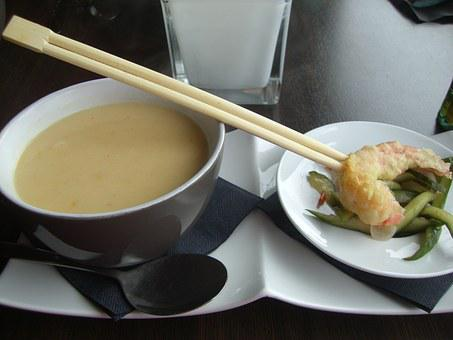Coconut Soup, Soup, Asia, Shrimp, Meal, Eat, Chopsticks