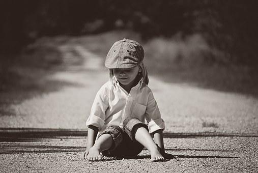 Boy, Sitting, Road, Nature, Outdoors, Dirt Road, Trees