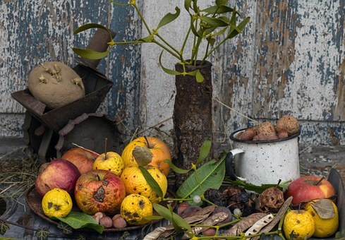 Still Life, Apple, Colorful, Nuts, Nistel, Background