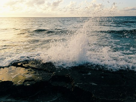 Beach, Water, Ocean, Sean, Waves, Splash, Sunset