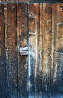Door, Barn, Rusty, Old, Lock, Wood, Wooden Building
