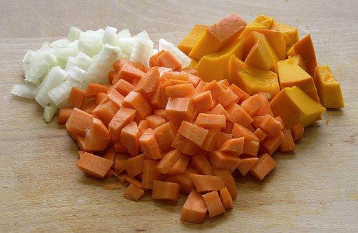 Ingredients, Pumpkin Soup, Vegetables, Cut, Hacked
