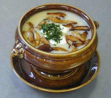 Soup, Starter, Potato Soup, Mushrooms, Sponges, Sponge