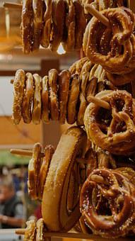 Pretzel, Bread, Market, Stall, Food, Bakery, Wheat