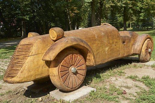 Wooden Car, Car, Turčianske Teplice, Wood, Carved