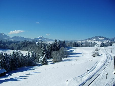 Allgäu, Winter, Mountain Panorama, New Zealand, Railway