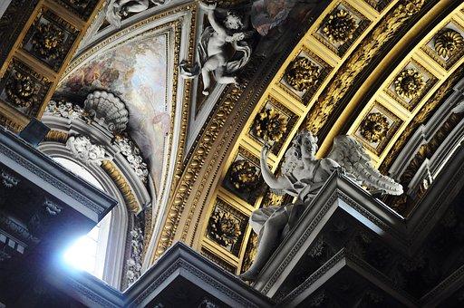 Church, Ceiling, Arches, Religion, Architecture