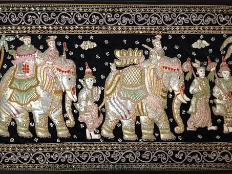 Sequined Tapestry, Asian, Elephants, Wall Hanging