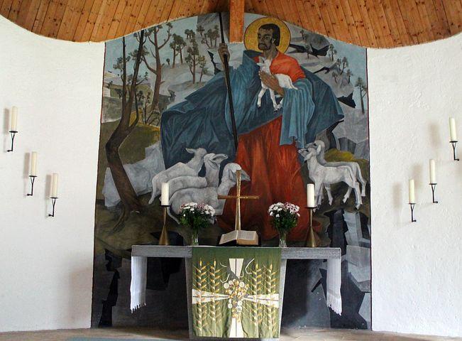 Church, Interior, Altar, Mural, Believe, Christen