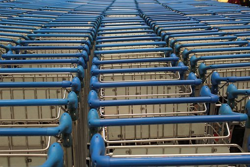 Push Cart, Blue Pushcart, Handle, Metal, Buggy, Basket