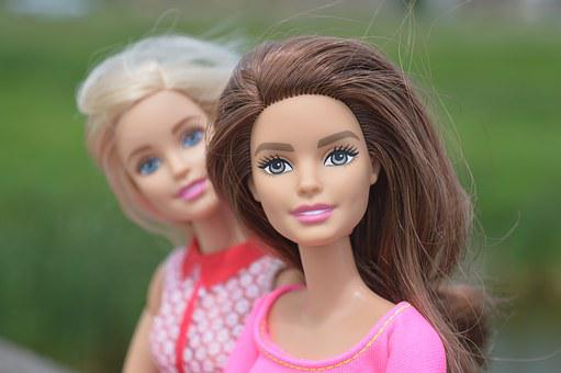Dolls, Barbie, Brunette, Blonde, Look, Looking