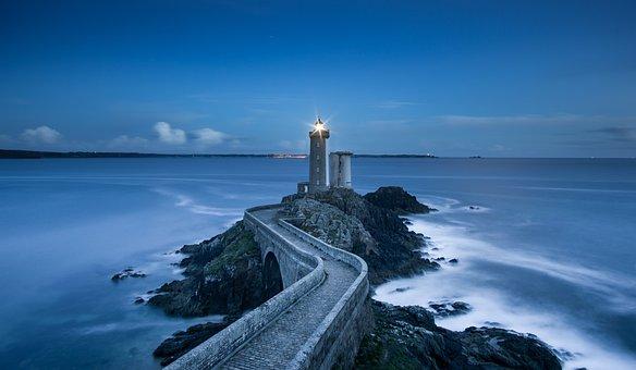 Coast, Concrete, Lighthouse, Ocean, Rocks, Sea
