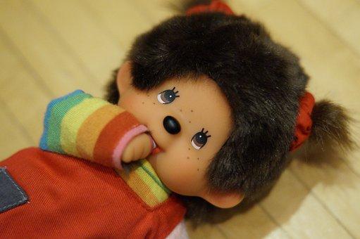 Monchichi, Doll, Teddy Bear, Cult, Toys, Soft Toy, Old