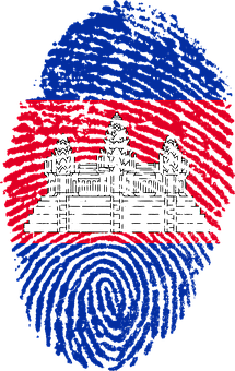 Cambodia, Flag, Fingerprint, Country, Pride, Identity