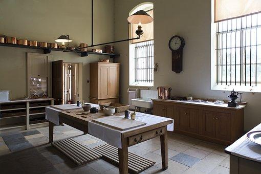 Victorian Kitchen, Gas Light, Copper Utensils, Table