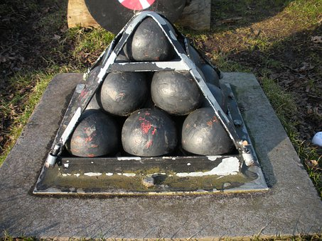 Cannon Balls, Old, Bolted, Iron Pyramid, Iron, Cement