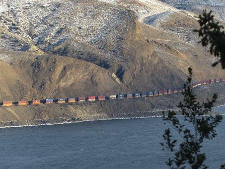Freight Train, Train, Transportation, Kamloops Lake