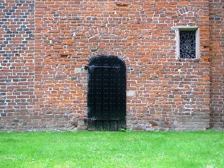 Monastery Wall, Door, Medieval Stained Glass