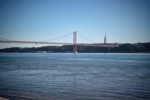 Sky, Small River, Bridge, Monument, Lisbon, Vignette